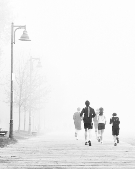 Morning Family Jog In The Fog